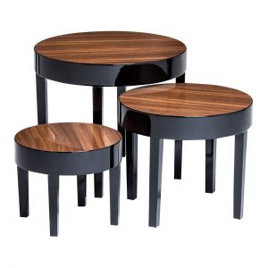 Apple Black High Gloss Nest of Tables