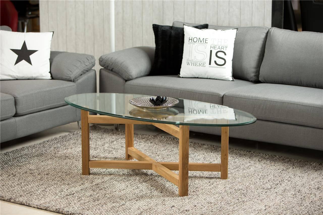 Melia Clear Glass Oval Coffee Table 1