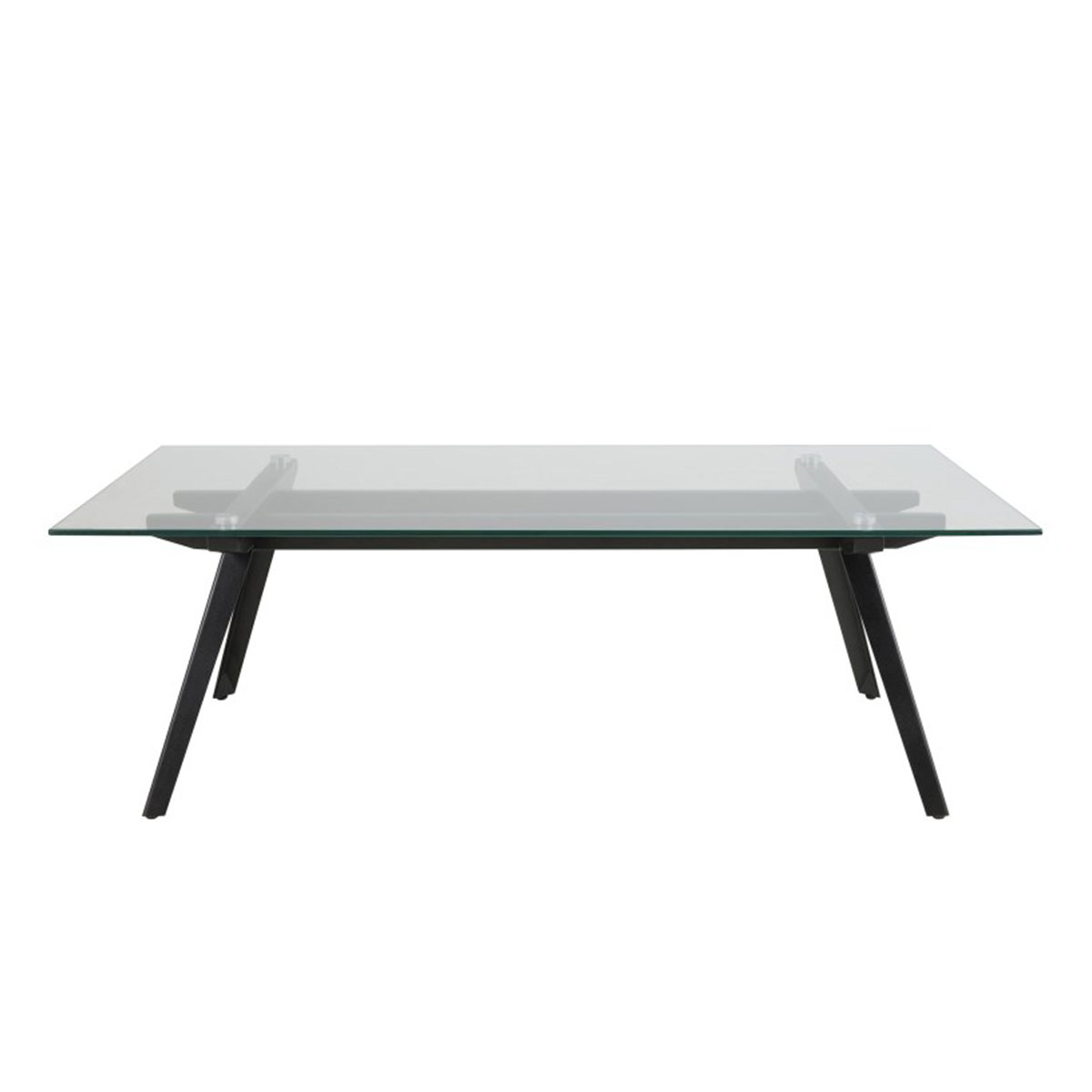 - Clear Glass Coffee Table With Black Metal Legs FADS