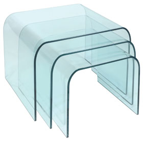Dome Clear Glass Nest of 3 Tables