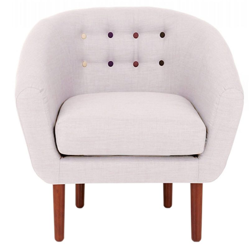 Anji Armchair Light Grey Fabric with Multi Coloured Buttons