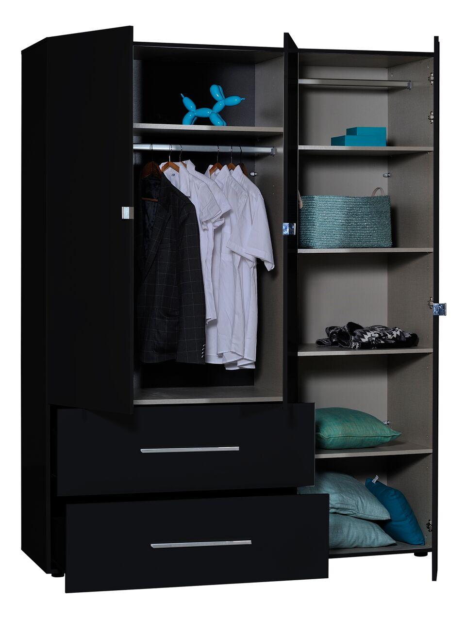 First 3 Door Gloss Black Mirrored Wardrobe Fads