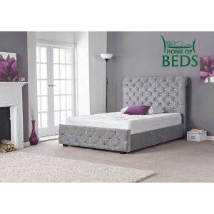 Hannah Silver Crushed Velvet Bed