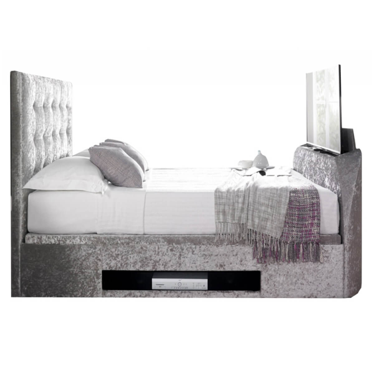 Kaydian Barnard Ottoman Tv Bed Crushed Velvet Silver Tv