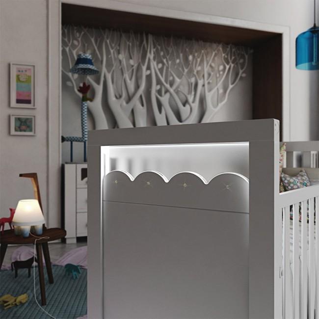 Lapsi Amelia Aran Cot Bed With Swarovski Crystals White 2