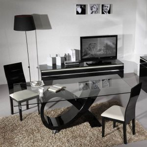 Logan Dining Set 4 to 6 Seater Black High Gloss
