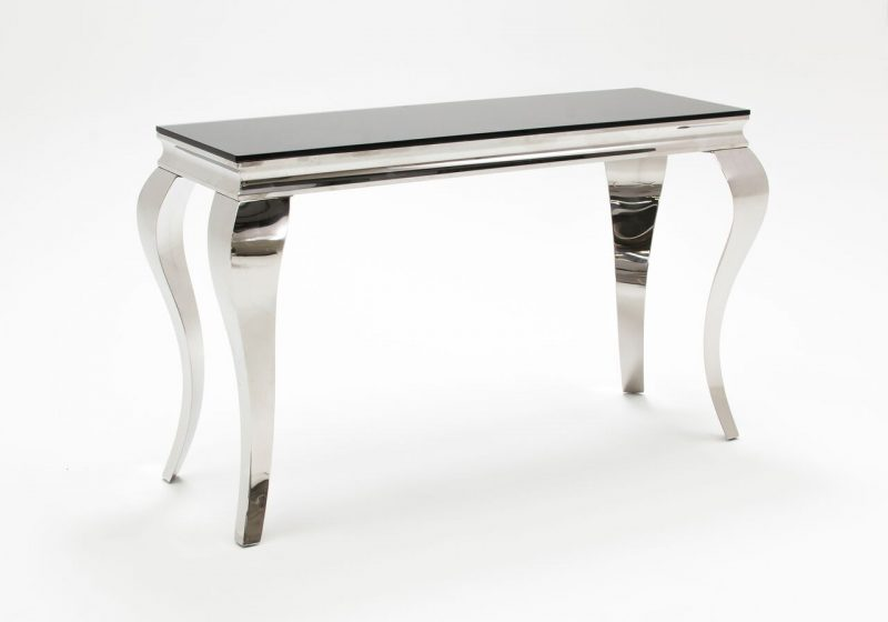 Louis Rectangular Console Table Black Glass & Stainless Steel 4