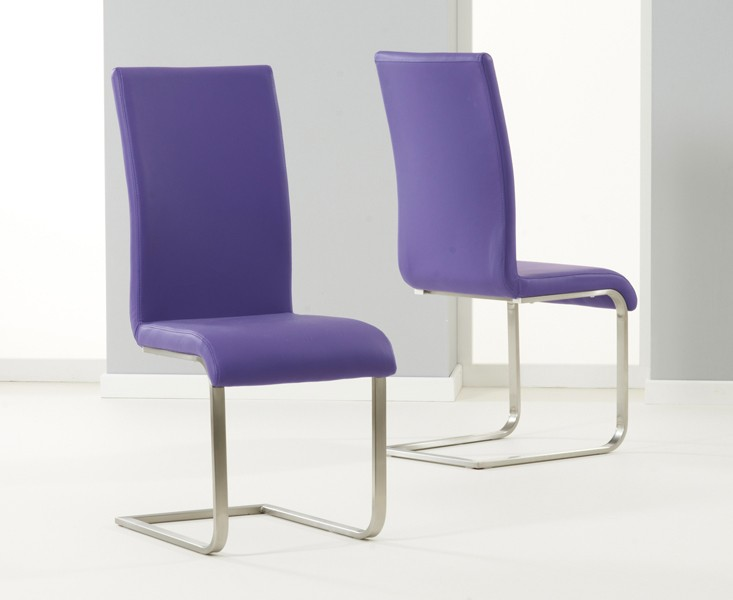 Malibu Cantilever Dining Chair Faux Leather Purple 1