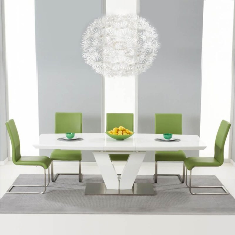 Malibu White Extending Dining Table - Green