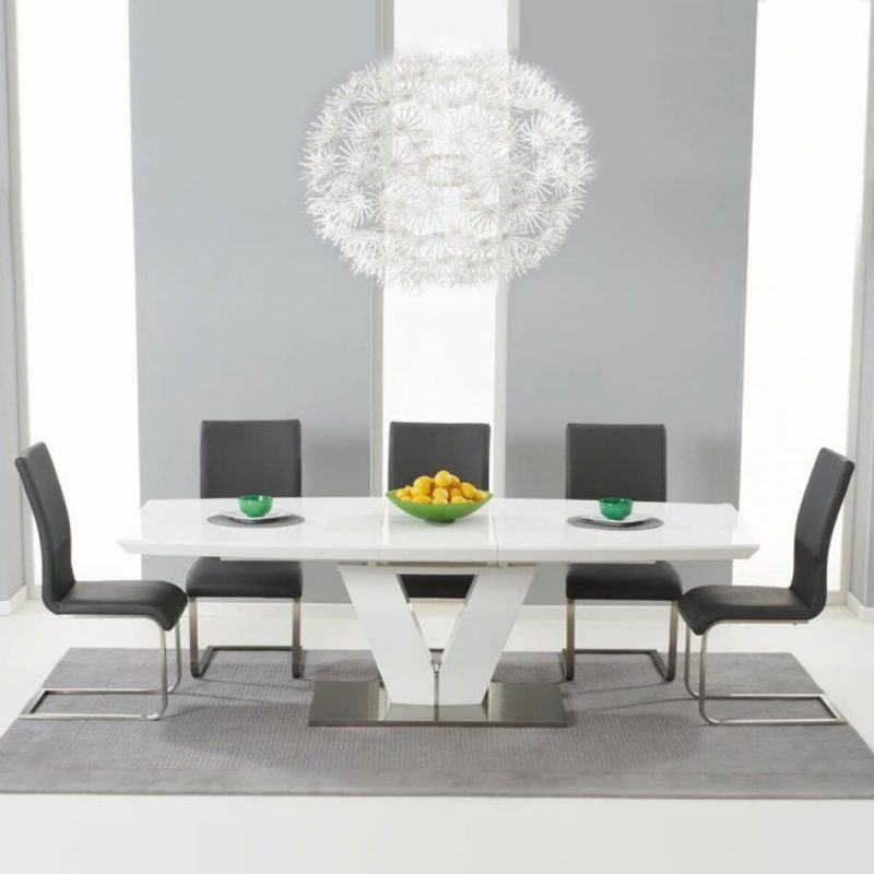 Malibu White Extending Dining Table - Grey