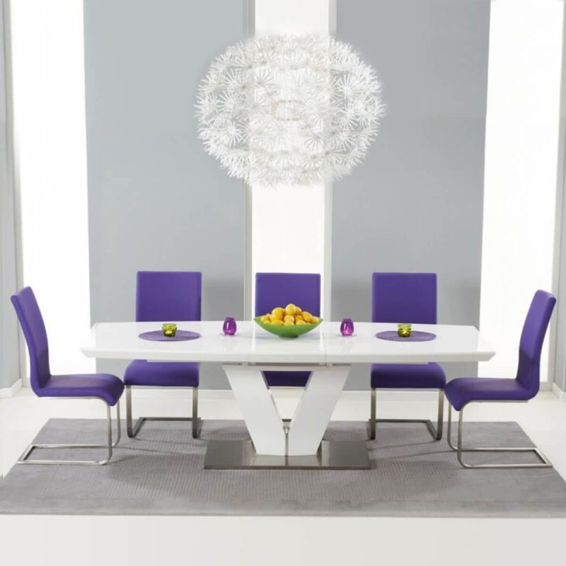 Malibu White gloss dining table Extending Dining Table - Purple