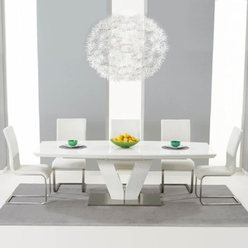 Malibu White Extending Dining Table - White