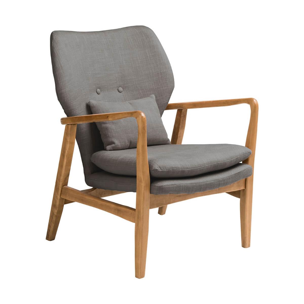 Oslo Wooden Grey Fabric Armchair