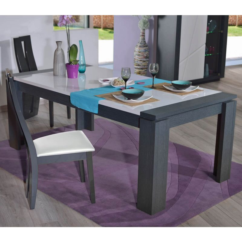 Quartz Extending Dining Set 6 to 10 Seater High Gloss White and Grey