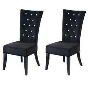 Radiance Dining Chairs Black Velvet Diamante