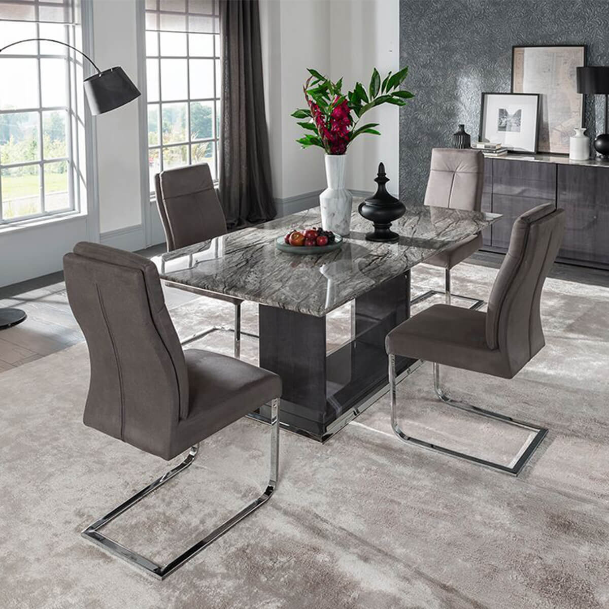 Rina Grey Marble Dining Table Set | Modern Marble | FADS