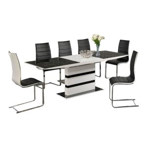 Space White High Gloss Extending Dining Set