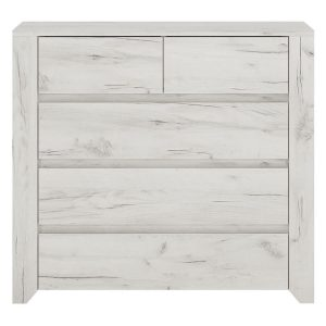 Starlight 5 Drawer Chest Textured White