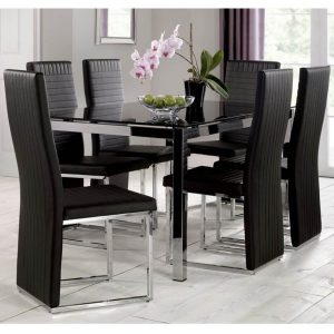 Tempo Dining Set 4 to 6 Seater Black Glass & Black Dining Chairs