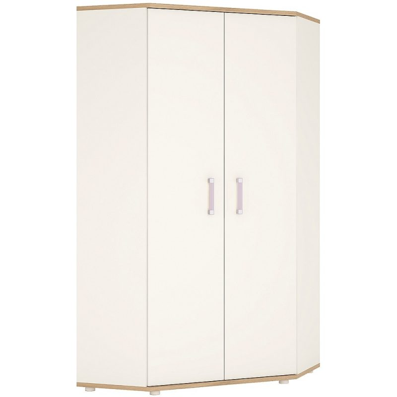 iKids Kids Gloss Corner Wardrobe with Lilac Handles