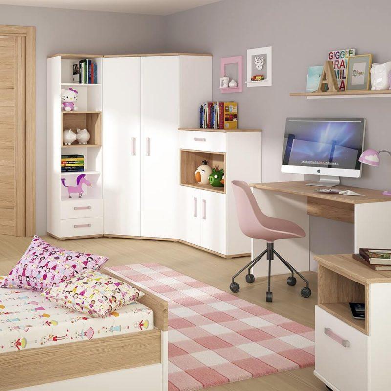 iKids Kids White Gloss Wardrobe Lilac Handles 4