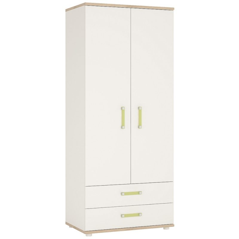 iKids White Wardrobe with Drawers Lemon Handles