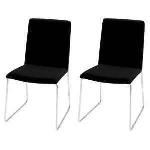 Kitos Black Dining Chairs & Chrome