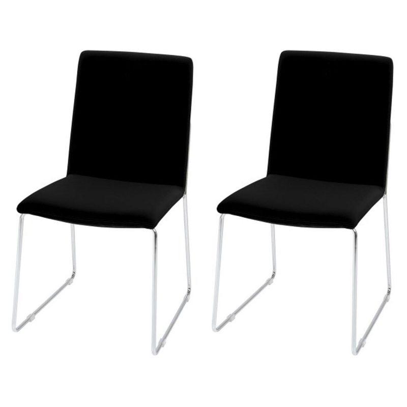 Kitos Black Dining Chairs & Chrome