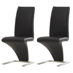 Z Shaped Dining Chairs Black Faux Leather