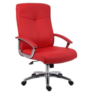 Cannes contemporary office chair red leather 1