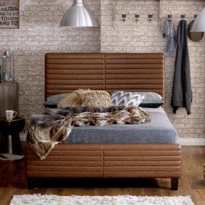 Ezra Tan Bonded Leather Bed Frame
