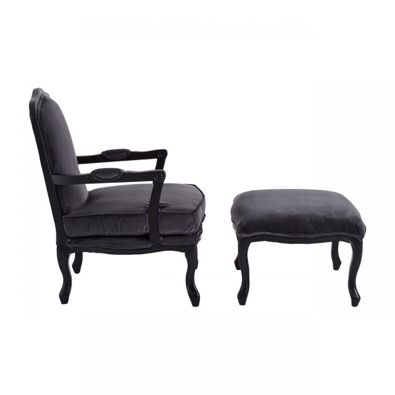 Baroque armchair and footstool grey velvet at FADS.co.uk