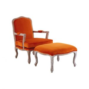 Baroque armchair & footstool burnt orange velvet at FADS.co.uk