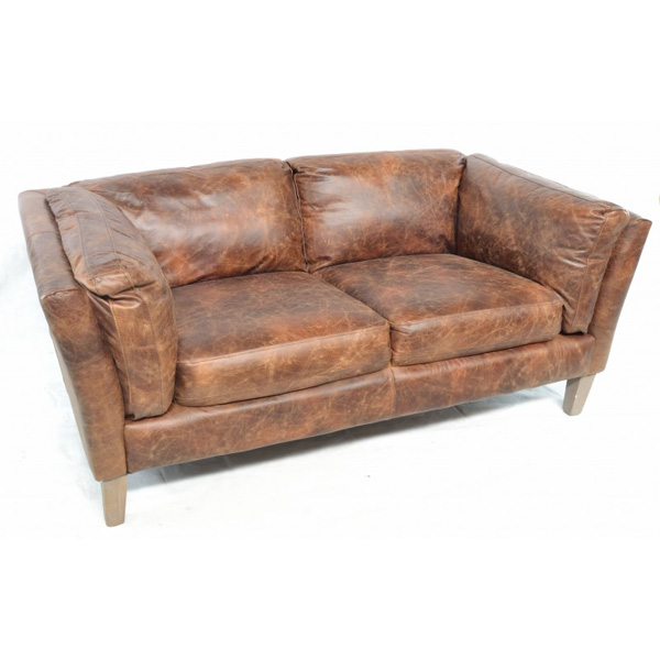 Barton Club Sofa 2 Seater Brown Leather