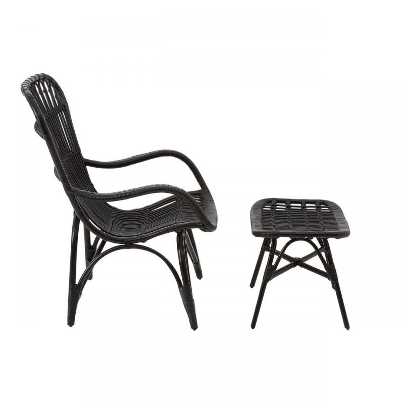 Cuba Rattan armchair & footstool black at FADS.co.uk