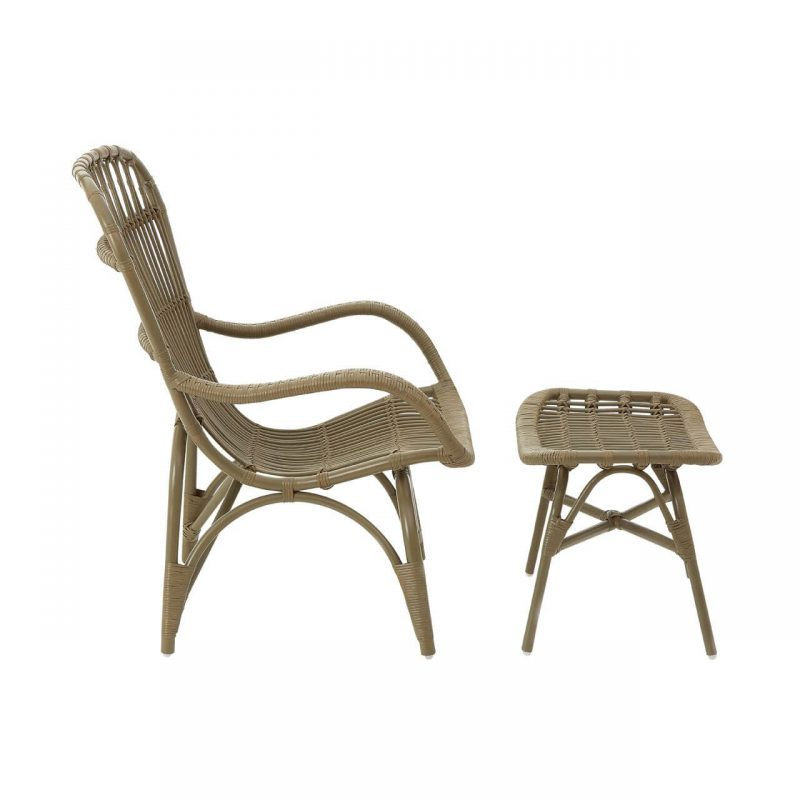 Cuba Rattan armchair & footstool grey at FADS.co.uk