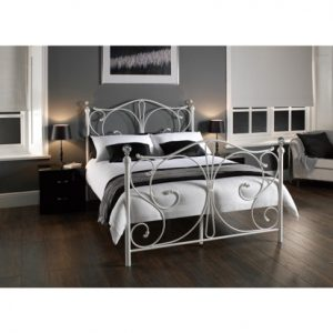 Firenze double king size metal bed frame crystal knobs
