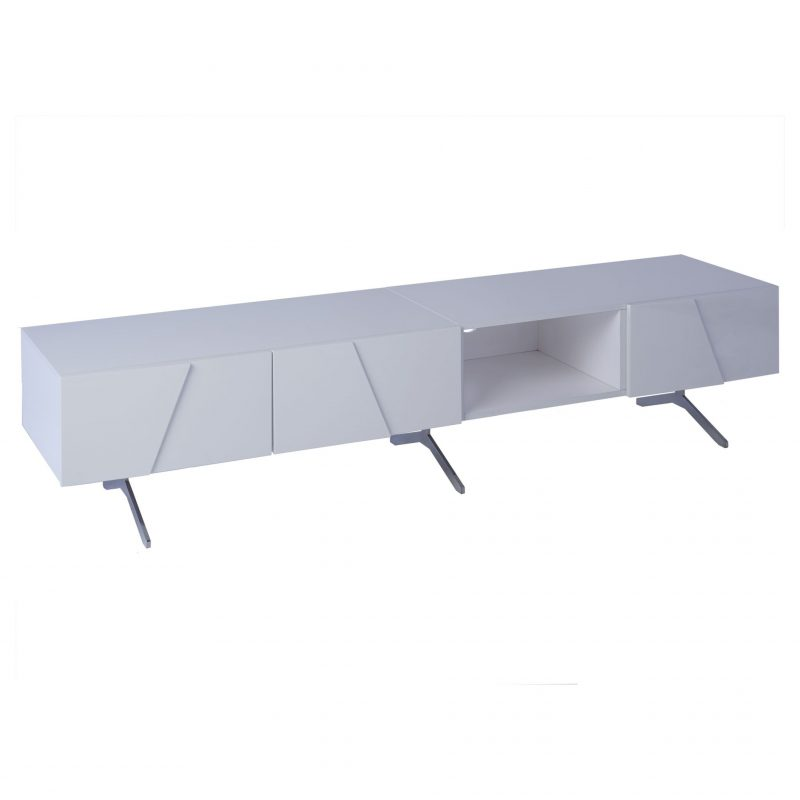 Glacier double length low media unit 4 door white high gloss Gillmore Space at FADS Furniture & Design Studio