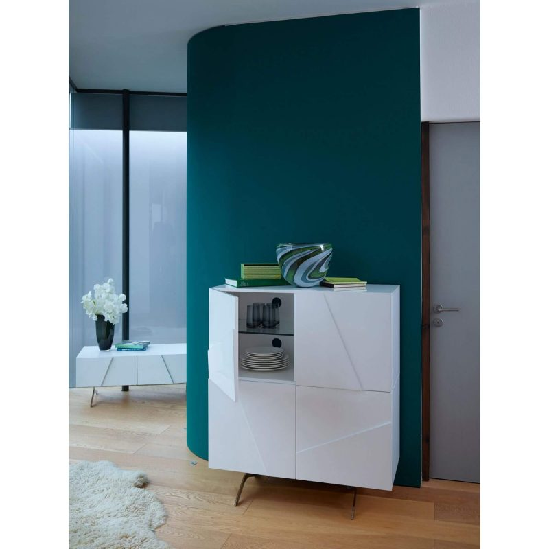 Glacier tall sideboard 4 door white high gloss Gillmore Space at FADS Furniture & Design Studio