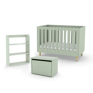 Flexa cot bed storage bench and bookcase mint green