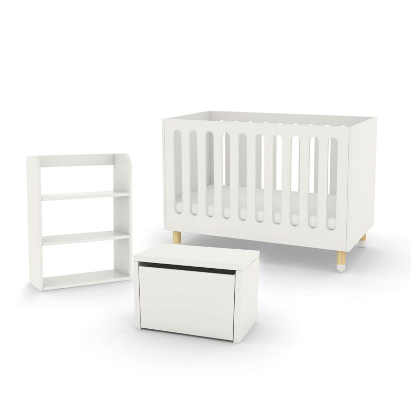 Flexa cot bed storage bench and bookcase white