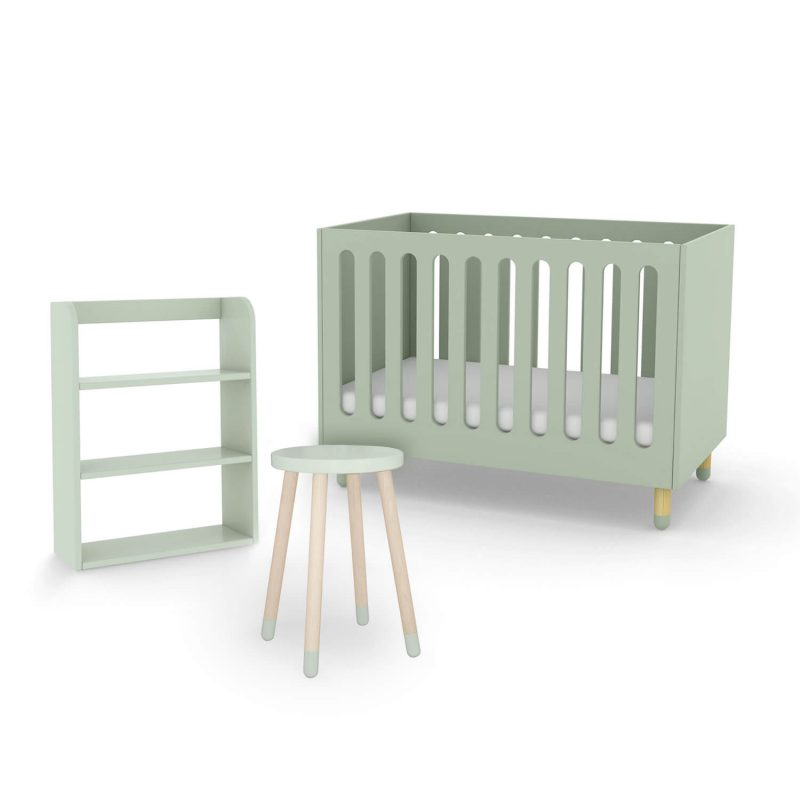 flexa-cot-bed-bookcase-side-table-bundle-mint-green