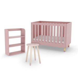 flexa-cot-bed-bookcase-side-table-rose-pink