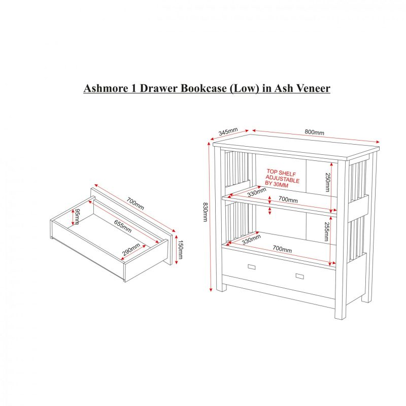 Ashmore 1 drawer bookcase dimensions