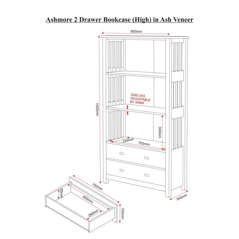 ashmore 2 drawer bookcase dimensions