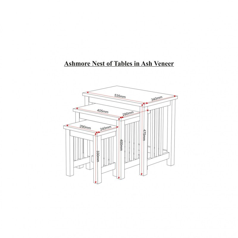 ashmore nest of tables dimensions