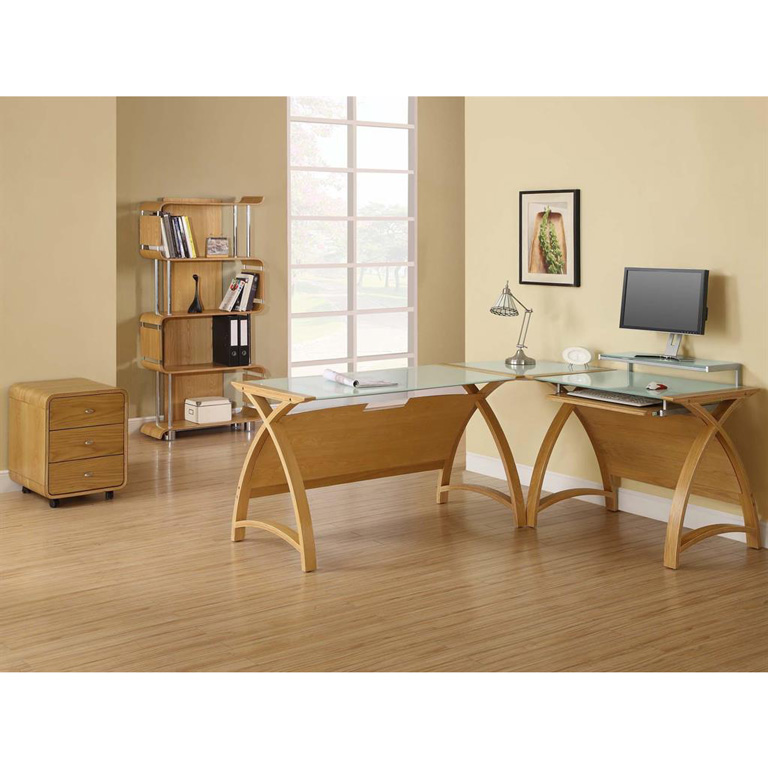 Curve desk oak with frosted glass corner set