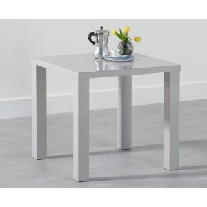 Luna 80 cm square gloss dining table light grey