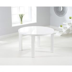 Luna white high gloss round dining table 4 seat