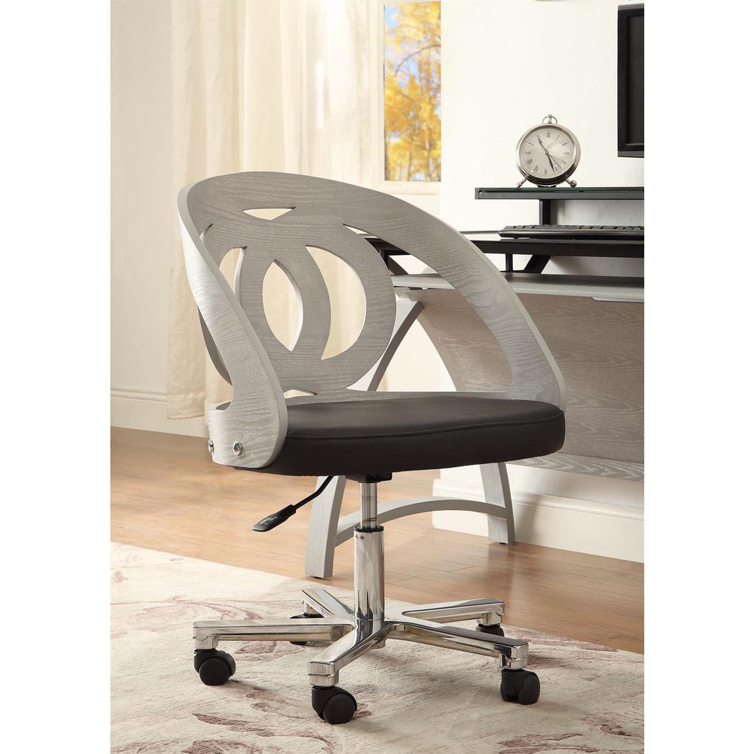 Curve Swivel Grey Office Chair Home